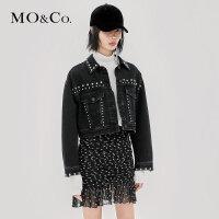 MOCO春秋短款铆钉黑色牛仔外套70年代牛仔服MA183JKT401摩安珂