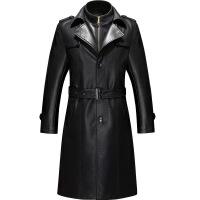 冬装皮衣男士长款皮风衣绵羊皮大衣中年商务外套男装