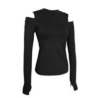 秋冬瑜伽服长袖上衣露肩健身运动外套带胸垫速干跑步防震性感t恤