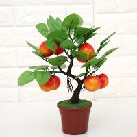 仿真植物塑料花 水果假果树小盆景盆栽桔子桃子石榴客厅室内摆件