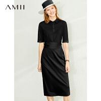 Amii�O�法式POLO�I黑色�B衣裙2020夏季新款收腰�@瘦短袖�r衣裙子