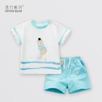 活力熊仔 活力熊仔韩版男女童装夏季婴儿服装纯棉短袖t恤短裤两件套装
