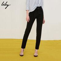Lily2018夏新款女装时尚OL黑色中高腰显瘦小脚裤118219C5915
