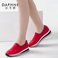 Daphne/达芙妮一脚蹬 深口布鞋撞色女单鞋