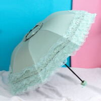 雨伞女晴雨两用折叠伞加固骨架蕾丝花边防晒黑胶遮阳伞防紫外线女