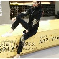 欧洲站秋冬天鹅金丝绒运动套装女加绒加厚刺绣休闲卫衣时尚两件套 黑色