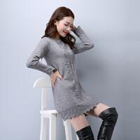 品牌秋冬女装新款针织衫圆领毛衣女套头中长款大码修身提花打底衫
