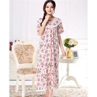 新款女士夏秋季纯棉绸粉色小花朵淑女可爱长款大码睡裙睡衣家居服 粉红色 粉色短袖 160(M) 适合重85-110斤