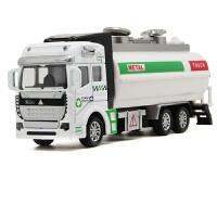 合金工程车回力环卫车垃圾车油罐车洒水车儿童玩具车模型