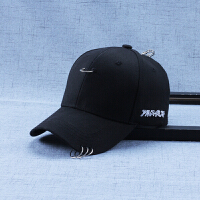 韩版带铁环嘻哈帽子夏天青少年鸭舌帽男女时尚遮阳帽潮学生棒球帽 可调节