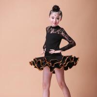 新款春秋长袖女童练功服少儿拉丁舞蹈公主裙 儿童拉丁舞服装演出服
