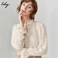 【2件4折到手价:191.6元】 Lily秋新款女装气质仙女宽松系带蕾丝长袖套头雪纺衫衬衫8910