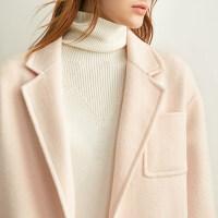 Amii极简时尚羊毛双面呢大衣女2019冬季新款收腰绑带修身毛呢外套