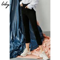 【不打烊价:255元】 Lily2019秋新款黑色弹力修身小脚裤八分铅笔牛仔裤女119330G5614