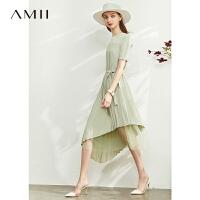 【券后预估价:180元】Amii极简法式气质风琴褶雪纺连衣裙2020夏新款收腰不规则网纱裙女