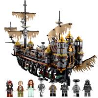 兼容乐高加勒比海盗5船模型僵尸鲨鱼人仔沉默玛丽号拼装积木玩具