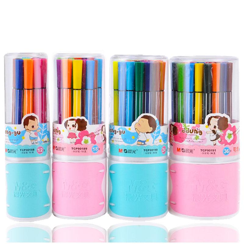 晨光水彩笔套装儿童画笔彩色笔绘画幼儿园小学生用24色36色 可水洗 颜色鲜艳