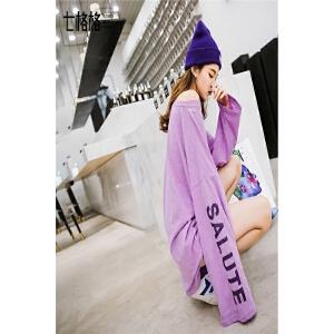 七格格 长袖宽松t恤女打底衫中长款2018春季新款学生bf风紫色上衣设计感