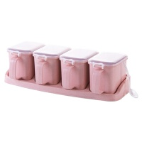 2019新品麦香调味盒塑料调味罐套装 厨房家用盐罐创意调料盒调料罐