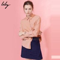 【每满200减100】Lily2017冬新款女装直筒绣字衬衫OL通勤口袋衬衫女117449C4906