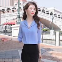 V领雪纺衬衫女2020春夏新款韩版时尚修身设计感女士休闲衬衣上衣