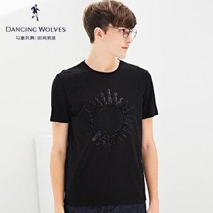 与狼共舞短袖T恤2017夏季新品圆领烫金短t男士上衣T恤衫6225