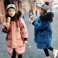 韩国童装冬装男女童金丝绒白鸭绒外套韩版中大童真毛领羽绒服