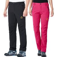 加厚抓绒冲锋裤冬女登山保暖防水软壳裤透气登山滑雪裤