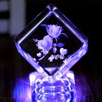 水晶玫瑰内雕发光创意家居男送女朋友老婆闺蜜同学摆件情人节礼物