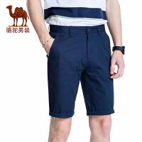 骆驼男装 夏季新款纯棉五分裤青年中腰纯色短裤休闲男裤子