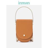 茵曼包包 女包 链条手提包单肩斜挎包金属手环珍珠小包包