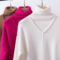秋冬新款羊绒衫女 韩版高领毛衣女 大码打底衫 宽松针织衫女