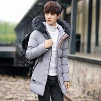 男士冬季新款青年冬装棉衣百搭韩版修身加厚棉袄中长款男服 灰色 M