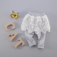 童装宝宝裙裤假两件 婴儿女童个性镂空蕾丝时尚裙裤打底裤可开档