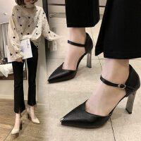 韩版性感女士尖头鞋粗跟单鞋女高跟鞋女皮面百搭女鞋