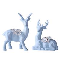 现代北欧创意陶瓷小鹿摆件家居客厅酒柜新房装饰品电视柜结婚礼物 水蓝色双鹿摆件