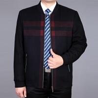 中年男士夹克秋冬加厚中老年男装春秋羊毛呢茄克衫爸爸装毛呢外套