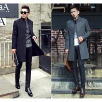 反季特卖韩版秋冬季新款毛呢大衣男士中长款立领羊绒外套加厚风衣 黑色 S