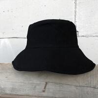 复古棉麻大檐渔夫帽子男女夏简约纯色盆帽春秋遮阳帽 M(56-58cm)