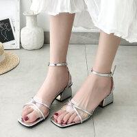 户外时尚方头中跟女士凉鞋一字带透明鞋仙女风晚晚鞋