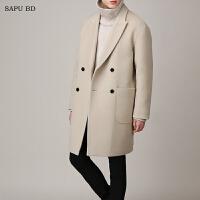 2017新款双排扣羊毛大衣男中长款青年韩版落肩米白色毛呢大衣韩风