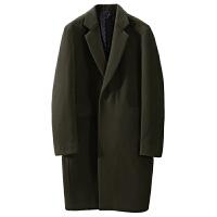 毛呢大衣男中长款冬季加厚韩版宽松落肩呢子外套长款过膝风衣韩国 军绿色 M