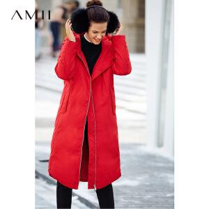【品牌团 1件7折/2件5折】Amii[极简主义]90绒连帽羽绒服女装2017冬装新款简洁宽松加厚上衣