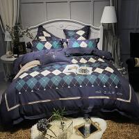 家纺秋冬80支纯棉长绒棉磨毛四件套全棉保暖加厚被套床单简约床上用品