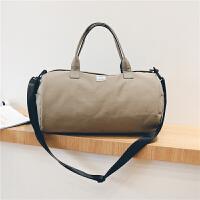 短途旅行包女手提圆筒行李包韩版容量简约旅行袋轻便防水健身包 旅行袋手提式可折叠行李包