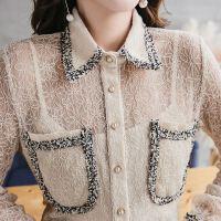 百搭翻领口袋蕾丝衬衫新款春夏季女长袖仙透视上衣打底衬衣