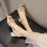 户外凉鞋女高跟仙女风时尚红ins百搭粗跟透明配裙子的鞋潮