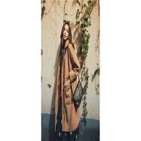 冬季新款欧美风女式中长款毛呢外套显瘦潮流风衣呢大衣 卡其色