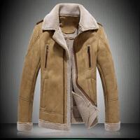 秋冬男士修身加绒加厚麂皮绒羊羔毛皮毛一体外套仿皮草皮衣夹克 卡其色