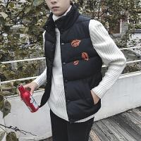 棉马甲男短款2017秋冬季新款韩版学生快手红人无袖棉衣加厚外套潮 黑色 M